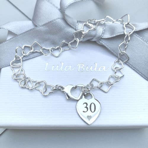 30th birthday gift charm bracelet - FREE ENGRAVING